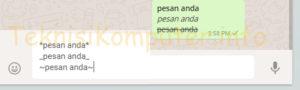 tulisan di whatsapp jadi tebal miring coret